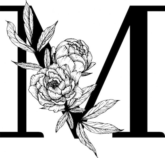 文字m、花アルファベット Premiumベクター