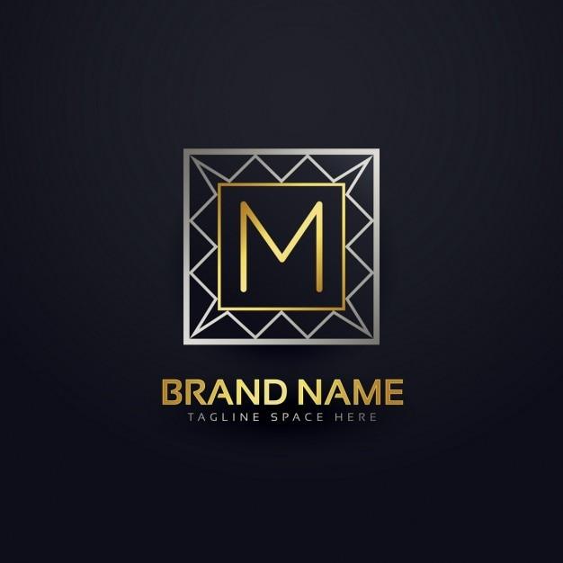 幾何学的なスタイルで文字mのロゴ 無料ベクター