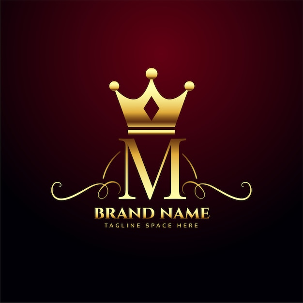 Letter m monogram logo with golden crown Free Vector