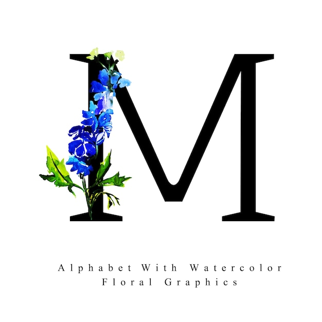 Wallpaper Rojo Y Negro >> Letter M Watercolor Floral Background Vector | Premium Download