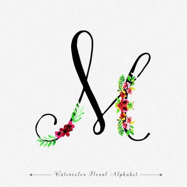 手紙m水彩花の背景 Premiumベクター