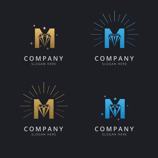 Letter m with luxury abstract diamond logo template Premium Vector