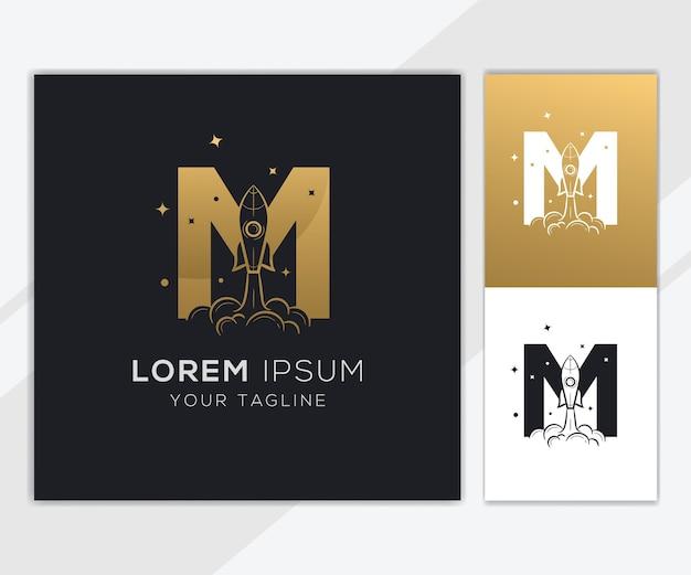 豪華な抽象的なロケットのロゴのテンプレートと文字m Premiumベクター