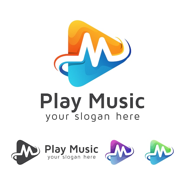 Letter m with media player music logo, video play logo design vector template Premium Vector