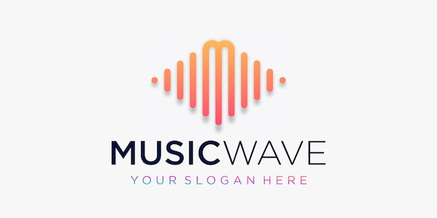 Letter m with pulse . music wave element. logo template electronic music, equalizer, store, dj music, nightclub, disco. audio wave logo concept, multimedia technology themed, abstract shape. Premium Vector