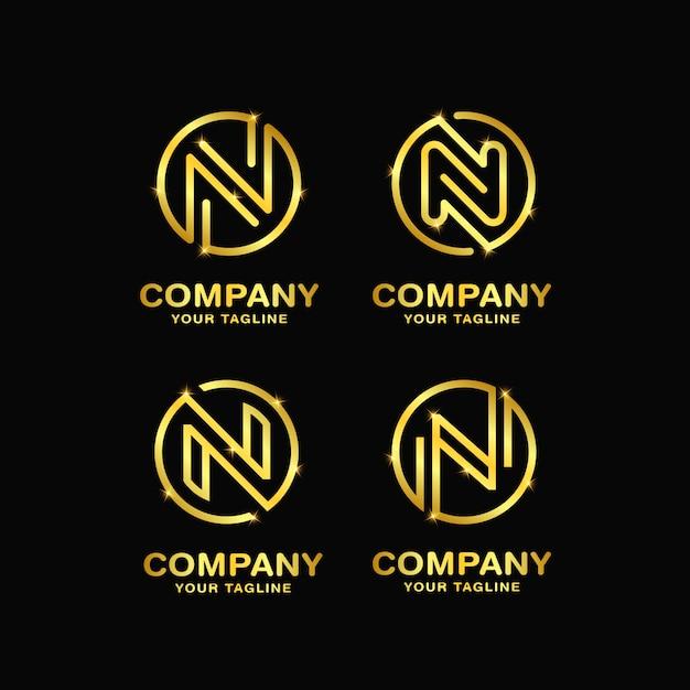 手紙nデザインのロゴのテンプレート Premiumベクター
