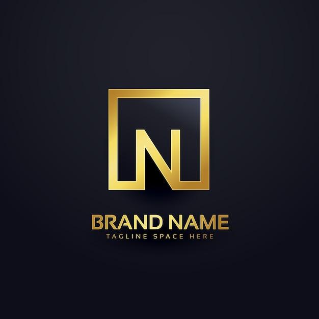Letter n golden luxury logo Free Vector
