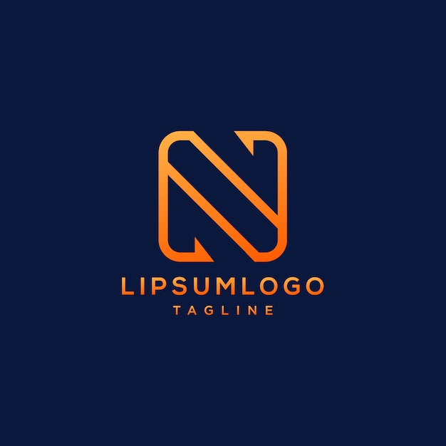 Letter n linear logotype  abstract  simple modern  minimal and elegant style Premium Vector