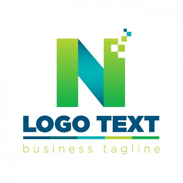 letter n logo in technological style vector free download