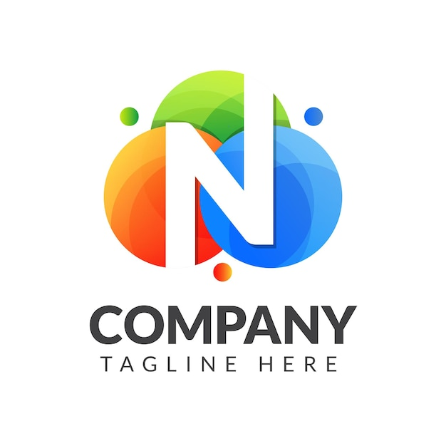 クリエイティブ産業、ウェブ、ビジネス、会社のためのカラフルな円の背景を持つ文字nロゴ Premiumベクター
