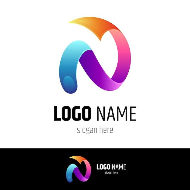 矢印のロゴが付いた文字n Premiumベクター