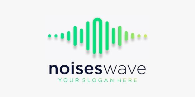 パルスロゴデザインの手紙n。ノイズ要素。ロゴテンプレート電子音楽、イコライザー、ストア、dj音楽、ナイトクラブ、ディスコ。オーディオウェーブのロゴのコンセプト、マルチメディア技術をテーマにした、抽象的な形。 Premiumベクター