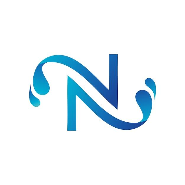 Letter n with water splash logo template Premium Vector