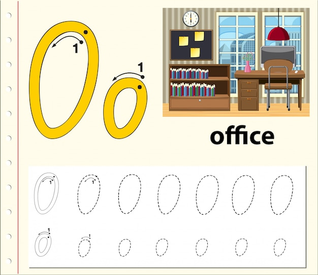 Letter o tracing alphabet worksheets Premium Vector