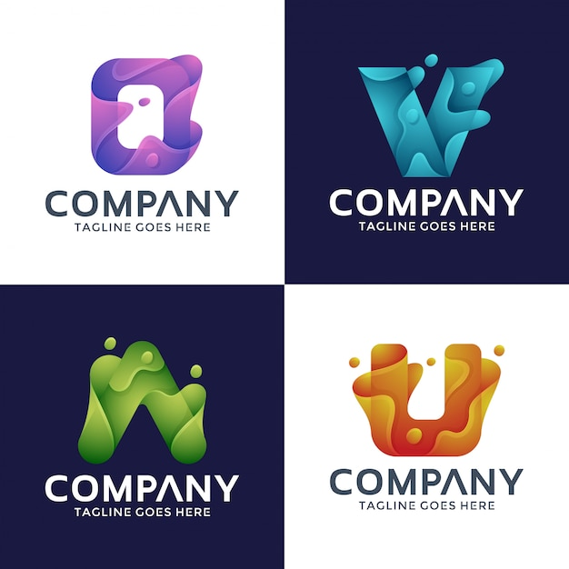 Letter o, v, a, u logo design with 3d style. Premium Vector