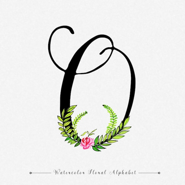 Letter O Watercolor Floral Background Premium Vector