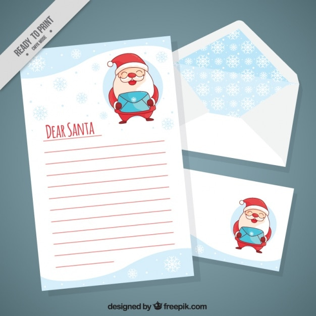 Letter of nice santa claus with postcard and envelope