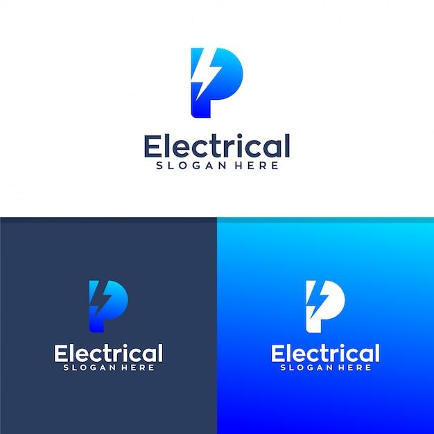 Letter p electrical logo design Premium Vector