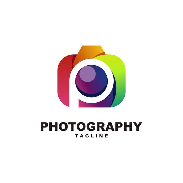 Letter p with photography logo premium Premium Vector