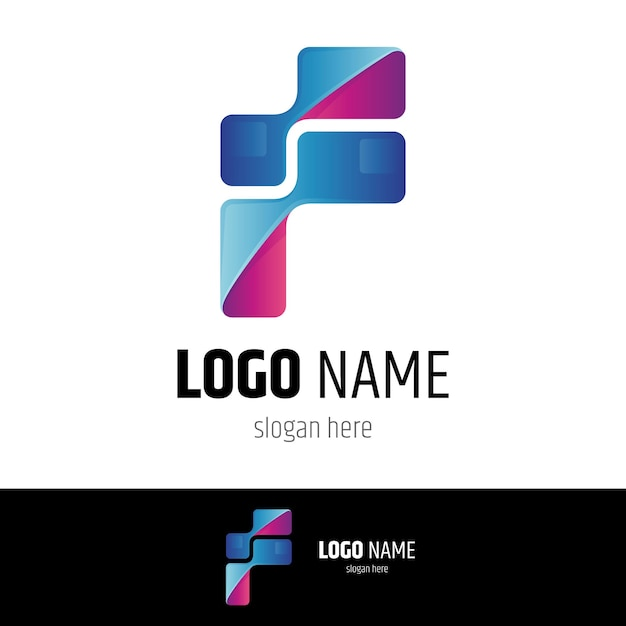 レターピクセルロゴデザインテンプレート Premiumベクター
