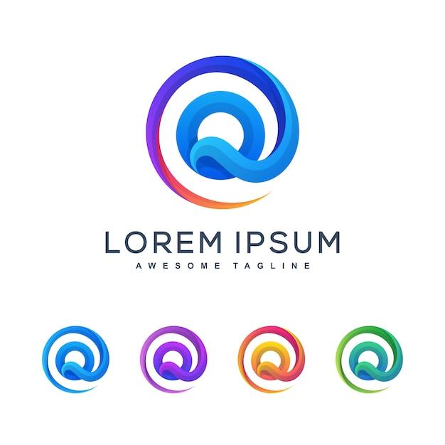 Буква q разноцветный логотип шаблон Premium векторы