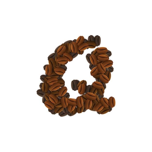コーヒー粒のqの文字 無料ベクター