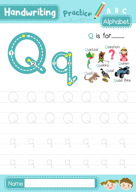 Premium Vector Letter Q Uppercase And Lowercase Tracing Practice Worksheet