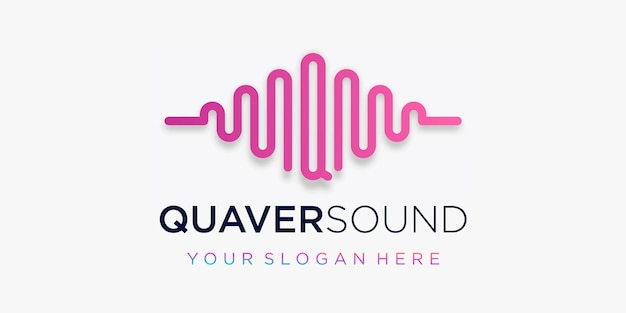 Буква q с импульсом. элемент звуковой волны. шаблон логотипа Premium векторы