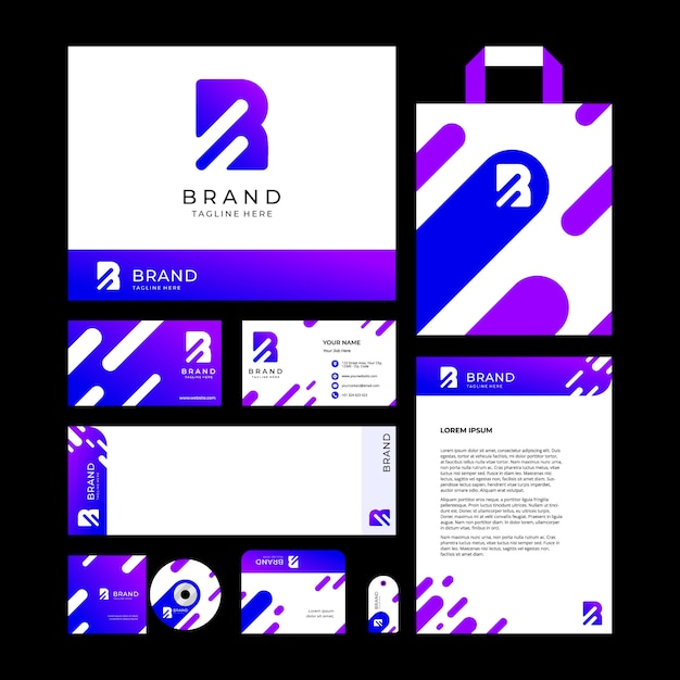 Letter r (abstract) logo design template and brand identity for corporate or store with minimal and modern style Premium Vector