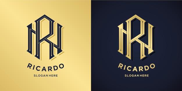 文字rとnのロゴの装飾的なスタイル Premiumベクター