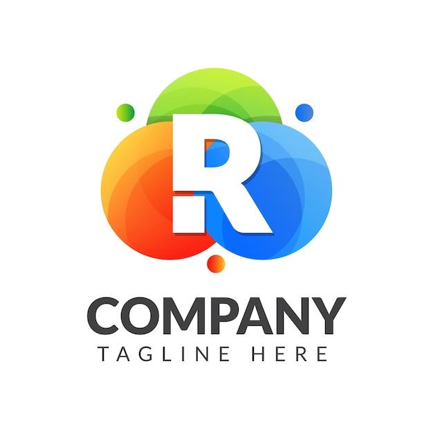 クリエイティブ産業、ウェブ、ビジネス、会社のためのカラフルな円の背景を持つ文字rロゴ Premiumベクター