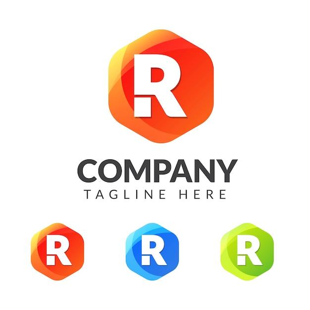 カラフルな幾何学形状の文字rロゴ Premiumベクター