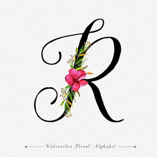 Letter R Watercolor Floral Background Premium Vector