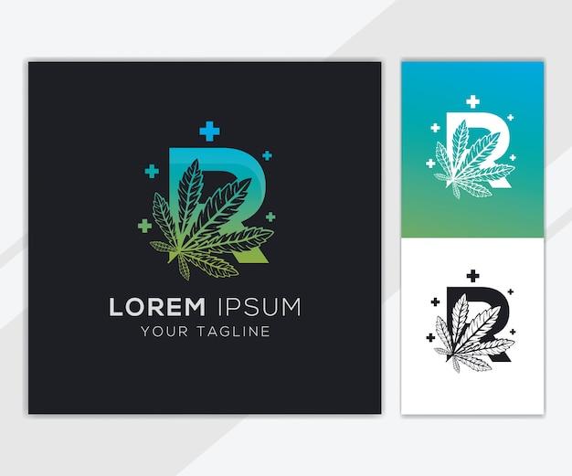 抽象的な大麻のロゴのテンプレートと文字r Premiumベクター
