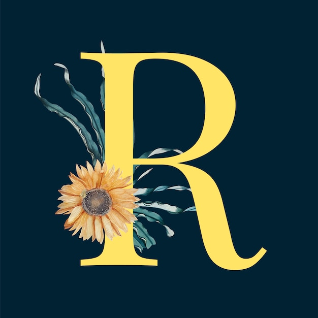 Letter R With Blossoms Vector Free Download