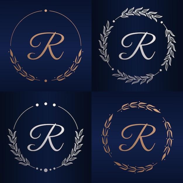 花のフレームのロゴのテンプレートと文字r Premiumベクター