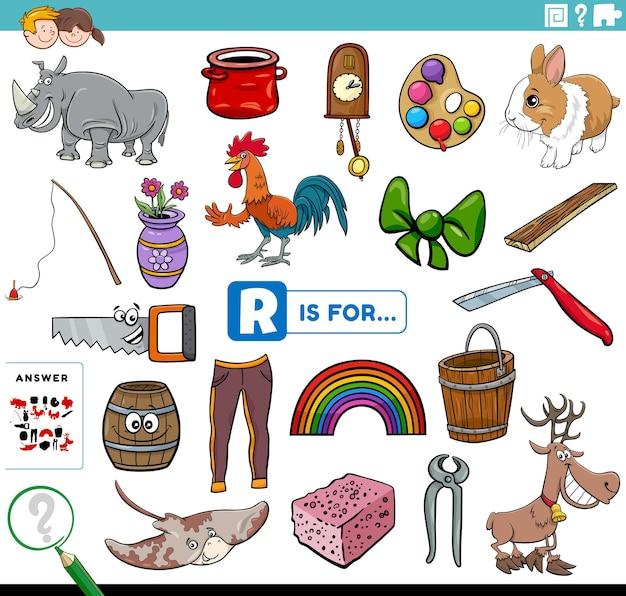 Letter r words educational task Premium Vector