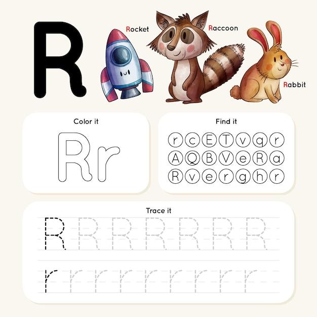 動物とロケットの手紙rワークシート 無料ベクター
