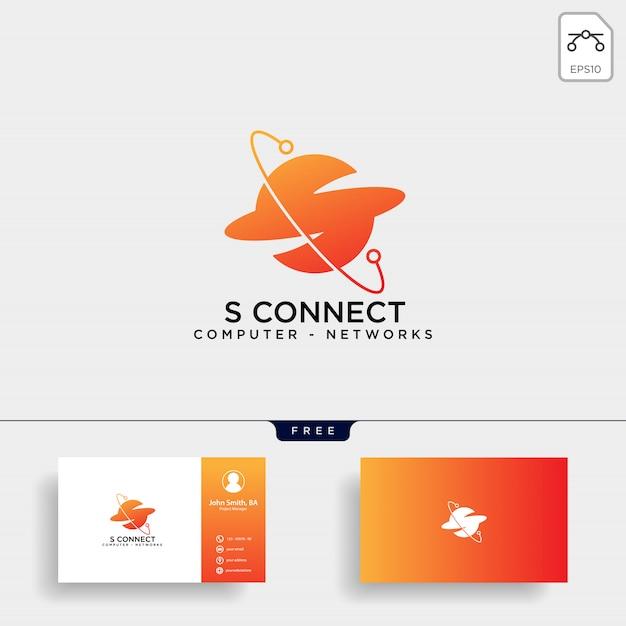 Letter s digital globe network logo template vector Premium Vector