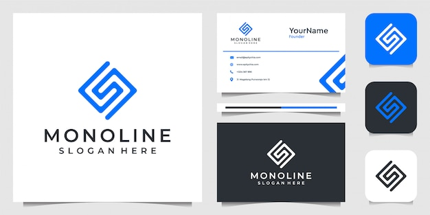 Letter s logo   in line art style. suit for brand, advertising, , business, company, and business card Premium Vector