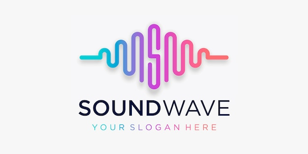 Letter s with pulse . sound wave element. logo template electronic music, equalizer, store, dj music, nightclub, disco. audio wave logo concept, multimedia technology themed, abstract shape. Premium Vector