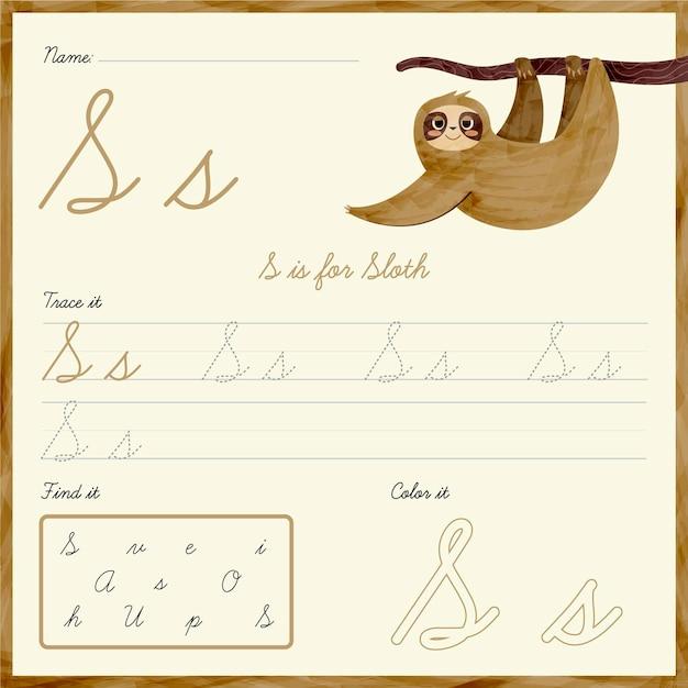 Foglio di lavoro della lettera s con bradipo Vettore gratuito