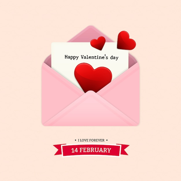 The letter send to lover on valentine's day Premium Vector