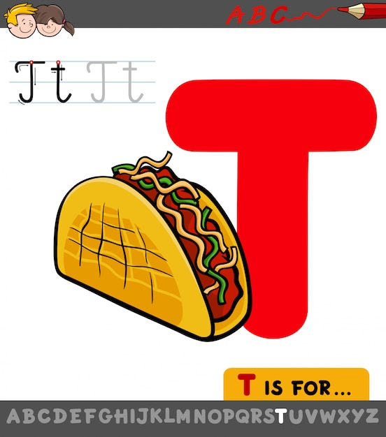 Letter t educational worksheet with taco Premium Vector