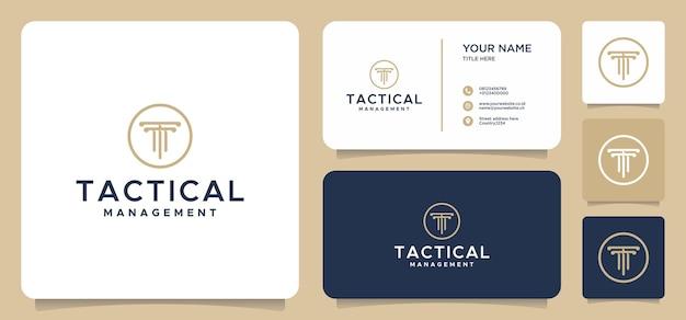 Буква t закон дизайн логотипа с визитной карточкой Premium векторы