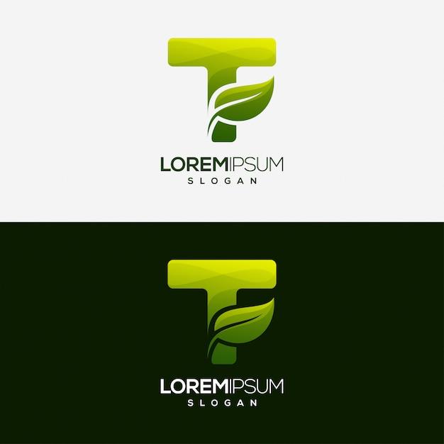 Letter t leaf gradient color logo template Premium Vector