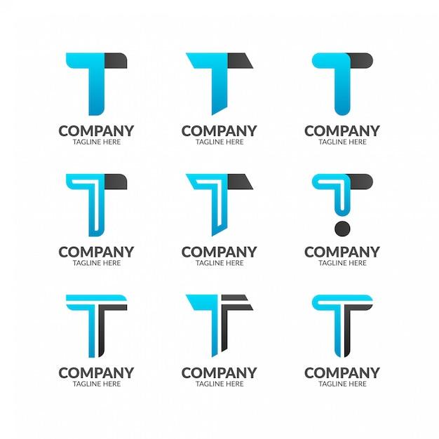 手紙tロゴコレクション Premiumベクター