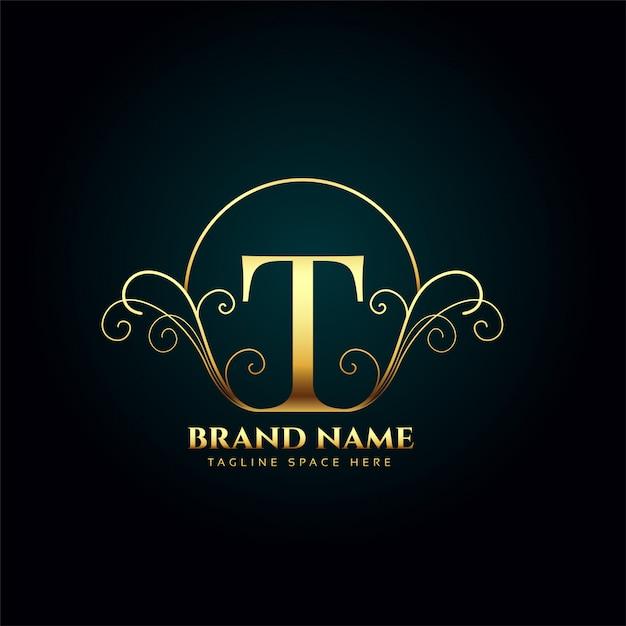 Буква t логотип монограмма в стиле золотой роскоши Бесплатные векторы