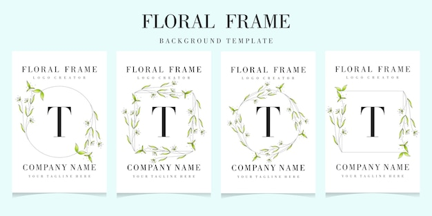 Letter t logo with floral frame background template Premium Vector