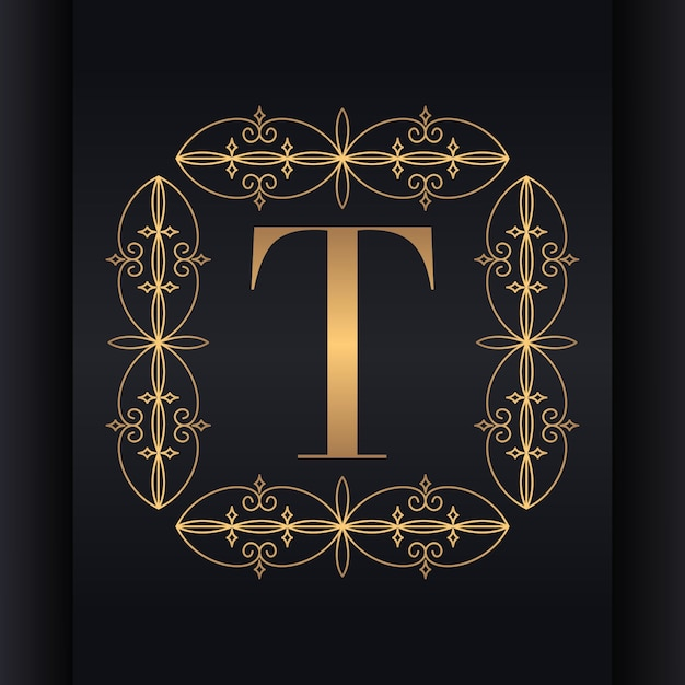 Letter t luxury logo design Premium Vector